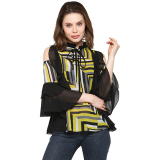 c2660daff1e1a6 Buy Inspire World Georgette Frilly TOP with Bell Sleeves and Cold Shoulder  in a combo of Black and Yellow Stripes Top for Women Online - Get 35% Off