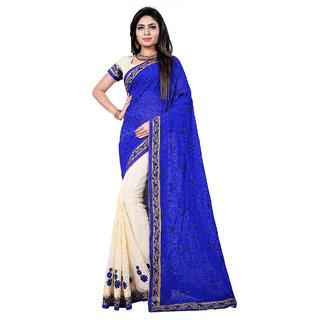Fashion Storey Blue Goergette Aari Embroidered Saree80125