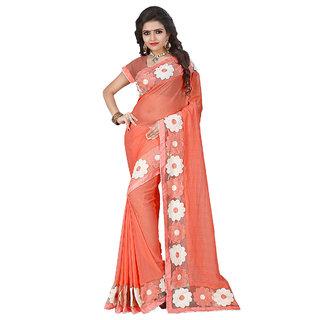 Fashion Storey Orange Chiffon Aari Embroidered Saree80222