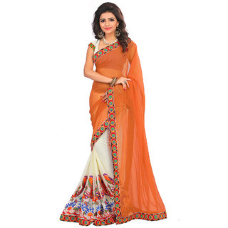 Fashion Storey Orange Goergette Aari Embroidered Saree80186