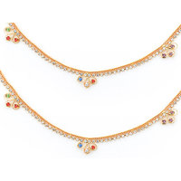 Sparkling Jewellery Gold Plated Anklet With White  Multicolor Stone