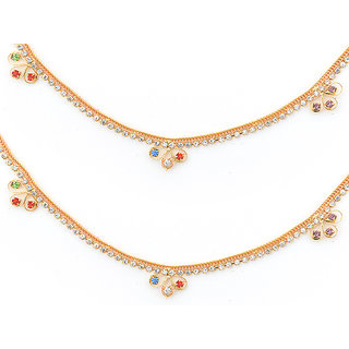 Sparkling Jewellery Gold Plated Multicolor Hanging Stone Anklet