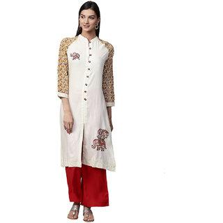 Jaipur Kurti Women Off-White & Red Solid Rayon Kurta with Palazzos