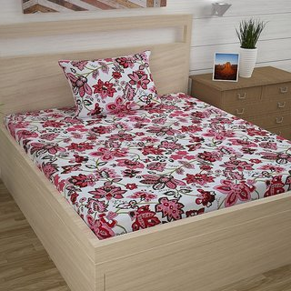 Awesome Indiana Home Cotton Single Bed Sheet With 1 Pillow CoverRedFloral