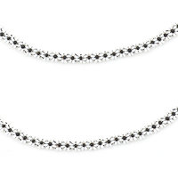 Black  White Beads Single Anklet(one piece) by Sparkling Jewellery