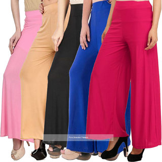 Pixie's Stylish Casual Wear Malai Lycra Pant Palazzo Combo (Pack of 5) - Free Size