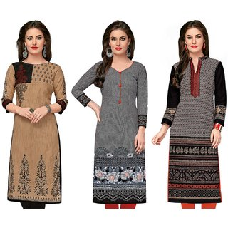 Jevi Prints - Set of 3 Unstitched Women's Cotton Printed Kurti Fabrics (Unstitched Fabrics Only for Top)