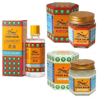 TIGER BALM RED 30 GM +WHITE 30 GM +LINIMENT OIL 28 ML (3 PRODUCTS COMBO OFFER)