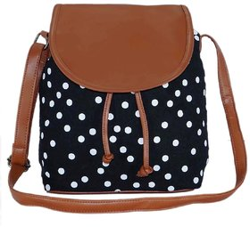 Suprino Printed Cotton Canvas With PU Flap Sling Bag For Girls and Women