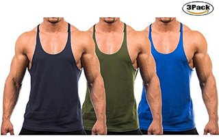 The Blazze Men's Blank Stringer Y Back Bodybuilding Gym Tank Tops Pack of 3