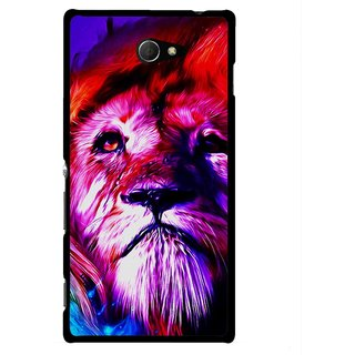 Snooky Printed Freaky Lion Mobile Back Cover For Sony Xperia M2 - Multicolour