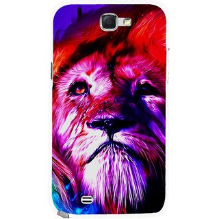 Snooky Printed Freaky Lion Mobile Back Cover For Samsung Galaxy Note 2 - Multicolour