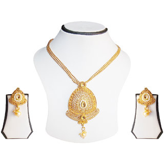 simbright gold pearl elegant pendent set with chain