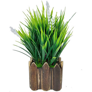 Artificial Plant By Adaspo With Green Grass and White Kali Buds As Miniature PLanter In Wooden Pot (16X22X16 CM ) (White)