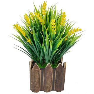 Artificial Plant By Adaspo With Green Grass and Yellow Kali Buds As Miniature PLanter In Wooden Pot (16X22X16 CM ) (Yellow)