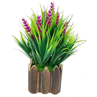 Artificial Plant By Adaspo With Green Grass and Pink Kali Buds As Miniature PLanter In Wooden Pot (16X22X16 CM ) (Pink)