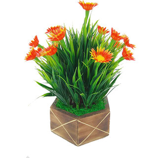 Artificial Plant With Pot by Adaspo With Green Grass and Orange Flower Buds (21X24X21 CM) (Orange)
