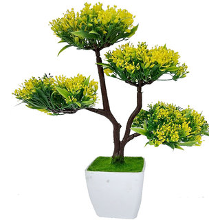 Artificial Big Bonsai Plant With Pot by Adaspo It Comes in its own Melamine pot contemporary look.(38X40X18 CM) (Yellow)