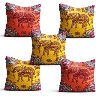 Pratibimb- Set of 5 Elephant printed Cushion Cover