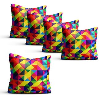 Pratibimb- Set of 5 Rainbow printed Cushion Covers