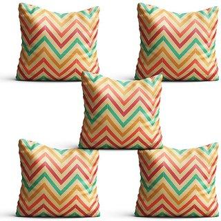 Pratibimb- Set of 5 Line pattern Designer Printed Cushion Covers