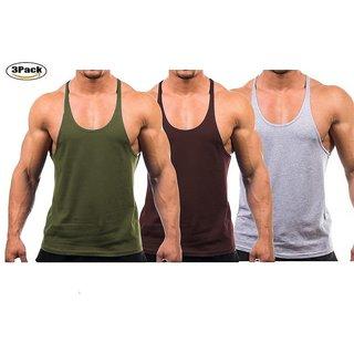 The Blazze Mens Blank Stringer Y Back Bodybuilding Gym Tank Tops Pack of 3