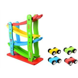 Emob 4 Colorful Wooden Cute Car Vehicles With Wooden Block Track Set for Kids