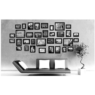 CRETE Glass Wall Hanging Brown Photo Frame Sets - Pack of 34