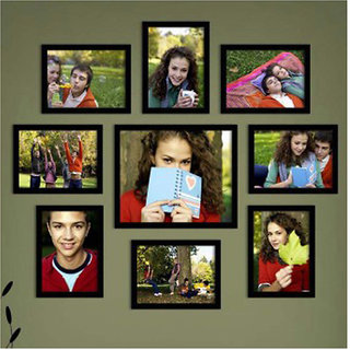 CRETE  Wall Hanging Brown Photo Frame Set - Pack of 9