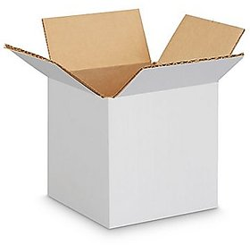 EZH Corrugated 4X4X4 Inch White 3 Ply Pack of 50 Boxes
