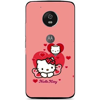 Snooky Printed Pinky Kitty Mobile Back Cover For Moto G5 - Multi