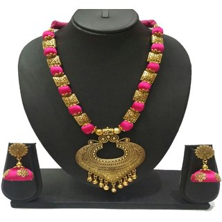 Buy ruby hand crafted silk thread jewelry set with for Jewelry sale online shopping