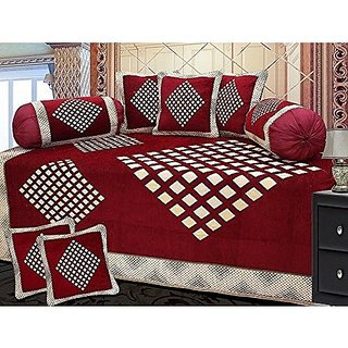 Fashion Hub ; 160 TC Cotton Diwan set(Set of 8)     with 5 single bedsheet (60 x 90 inches), 5 Cushion Covers (16 x 16 inches) and 2 Bolster Covers (32 x 16 inches)