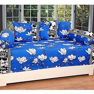 Fashion Hub ; 160 TC Glace Cotton Diwan set(Set of 8)     with 6 single bedsheet (60 x 90 inches), 5 Cushion Covers (16 x 16 inches) and 2 Bolster Covers (32 x 16 inches)