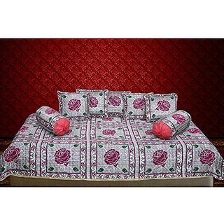 Fashion Hub ; 160 TC Cotton Diwan set(Set of 8)     with 7 single bedsheet (60 x 90 inches), 5 Cushion Covers (16 x 16 inches) and 2 Bolster Covers (32 x 16 inches)