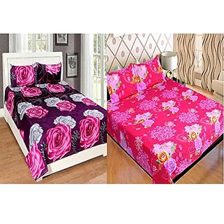 Combo Grace Cotton King Size Double Bedsheet Combo Set of 2 Bedsheet and 4 Pillow covers From Fashion Hub™