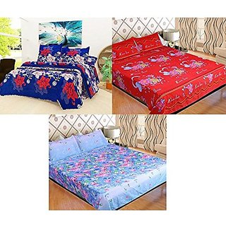 Set Of 3 Grace Cotton King Size Double Bedsheet Set of 3 Bedsheet and 2X3 Pillow covers From Fashion Hub™
