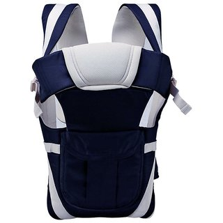 JOHN RICHARD Adjustable Hands-Free 4-in-1 Baby Carry Bag with Comfortable Head Support Buckle Straps (Navy Blue)