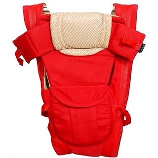 JOHN RICHARD Adjustable Hands-Free 4-in-1 Baby Carry Bag with Comfortable Head Support Buckle Straps (Red)
