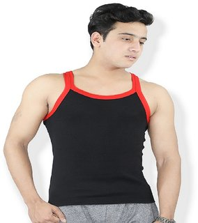 Harvimen's Black   Red Gym Vest Cutsleep T- Shirt harvi0058