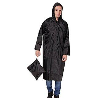 Unique Black knee length long rain coat with Cap