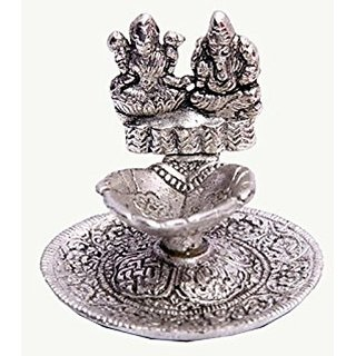 Satya Oxodised White Metal Ganesh Ji And Laxmi ji With Atteched Diya