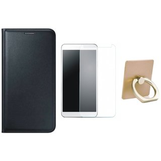 Redmi Note 3 Leather Flip Cover with with Ring Stand Holder, Tempered Glass