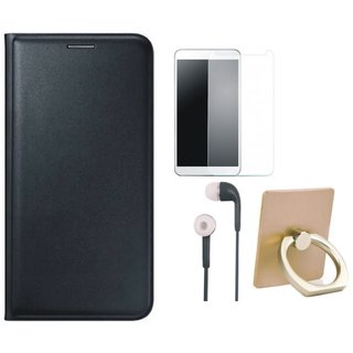 Redmi Note 3 Leather Flip Cover with with Ring Stand Holder, Earphones and Tempered Glass