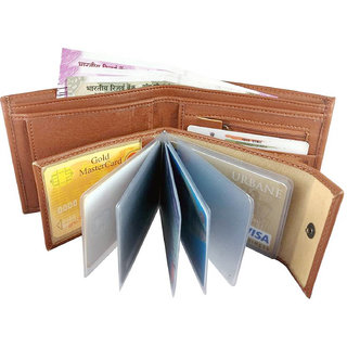 HELIZEST Men Tan Artificial Leather Wallet (8 Card Slots)