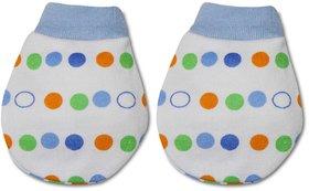 Tumble Polka Dot Print Blue Baby Mittens (0-6 Months)