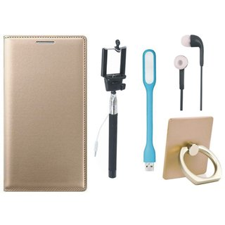 Redmi Note 3 Leather Cover with Ring Stand Holder, Selfie Stick, Earphones and USB LED Light