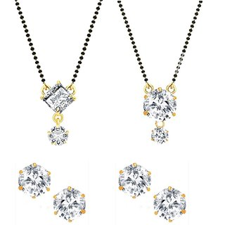 Karwachauth Gift for Hera Mangalsutra AD Combo with 2 Pairs of Earrings by GoldNera
