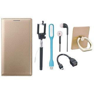 Redmi Note 3 Flip Cover with Ring Stand Holder, Selfie Stick, Earphones, OTG Cable and USB LED Light