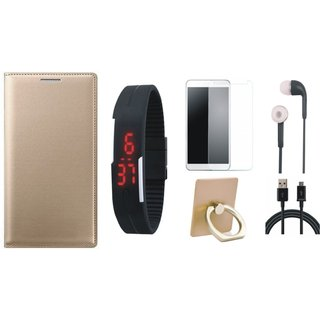 Redmi Note 3 Premium Leather Cover with Ring Stand Holder, Free Digital LED Watch, Tempered Glass, Earphones and USB Cable